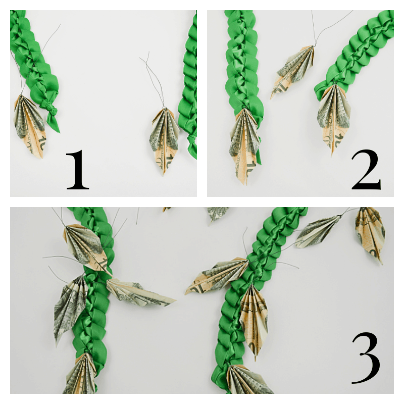 3 steps of attaching origami leaves to ribbon lei base