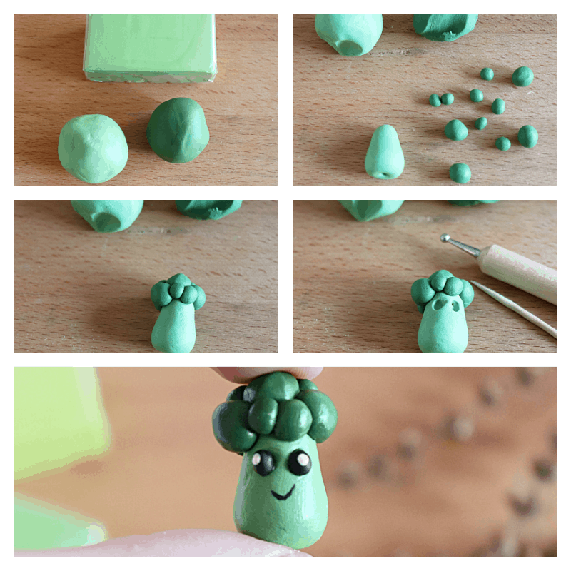 5 images of the steps to make small asparagus or broccoli clay figure