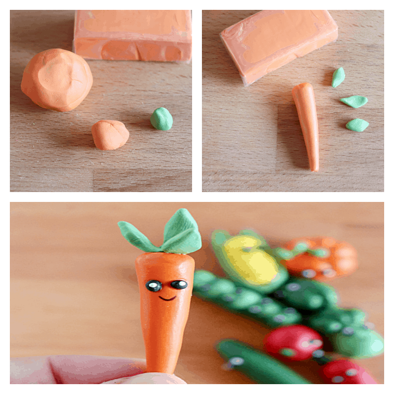 collage of 3 images of steps to make small clay carrot figure