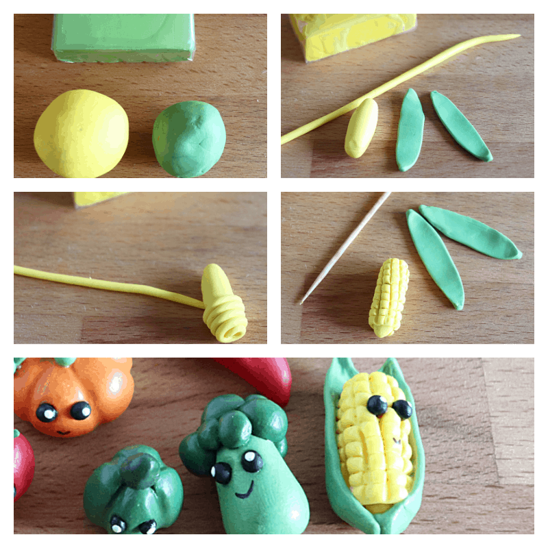 collage of 5 images of steps to make tiny corn clay craft