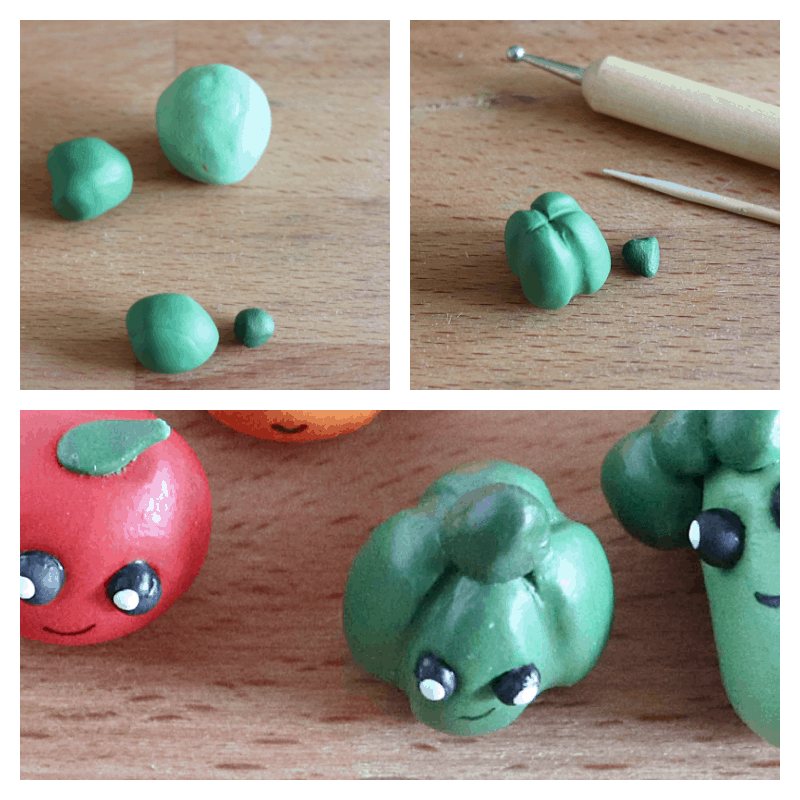 collage of 3 steps to make tiny green pepper clay characters
