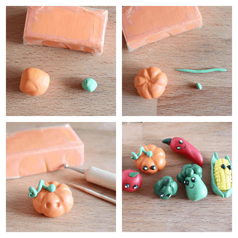 college of 4 images of steps to make clay pumpkin