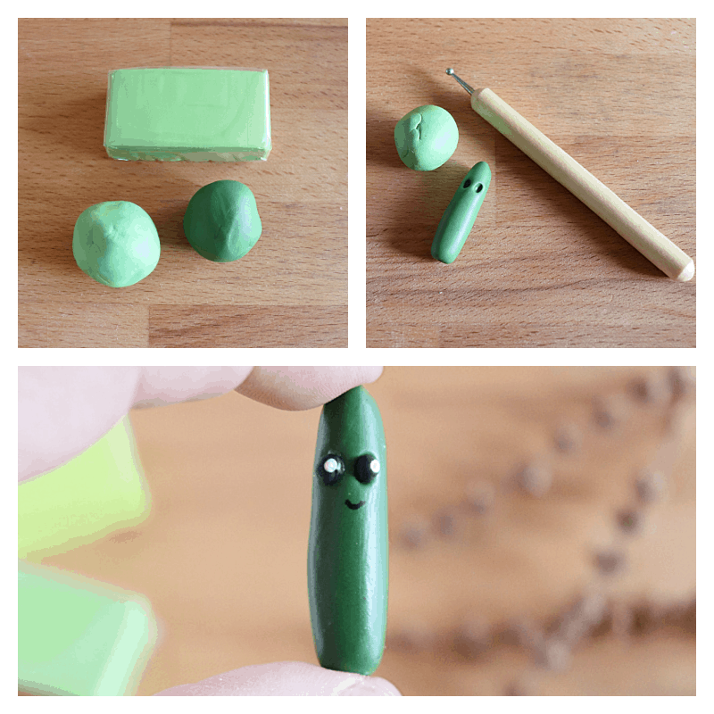 collage of 3 images of steps to make clay cucumber