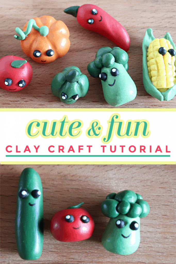 collage of two images of colorful cute vegetable clay figures on wood table with title text reading Cute & Fun Clay Craft Tutorial