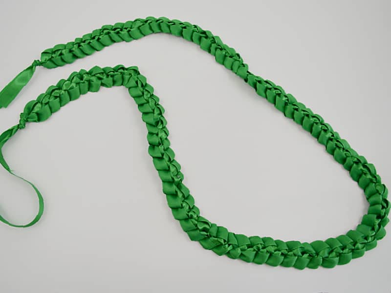 braided green ribbon lei