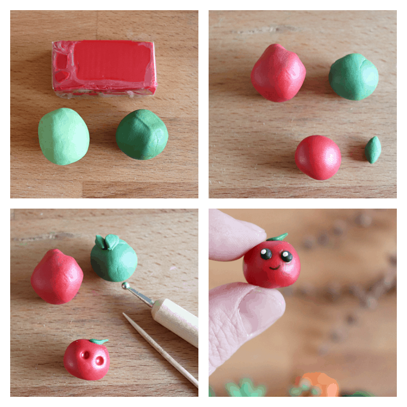 collage of 4 images of steps to make small clay tomato craft