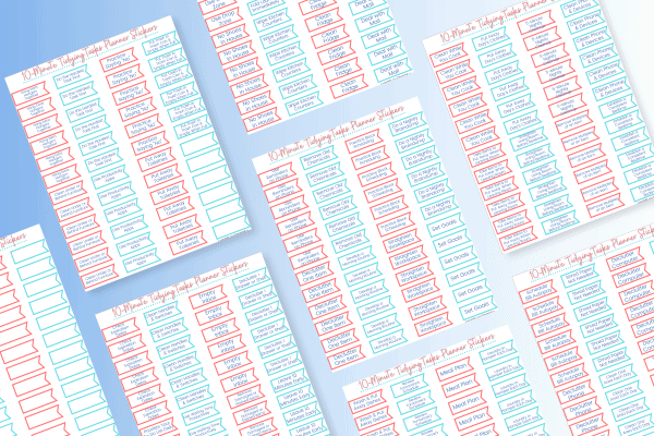 red and blue sticker pages on blue background