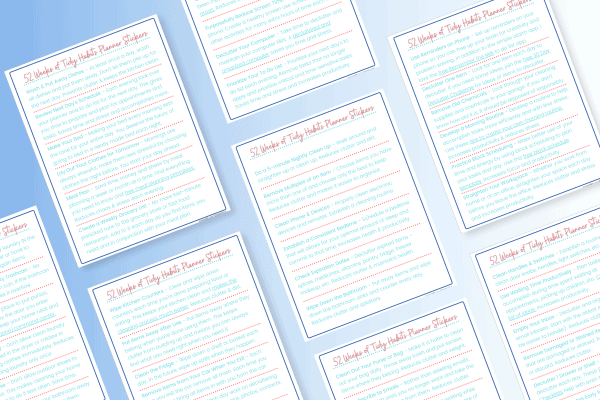 pages of decluttering tasks on blue background