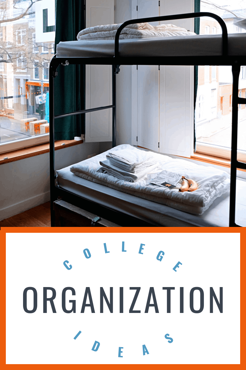 dorm room bunk beds with grey blankets