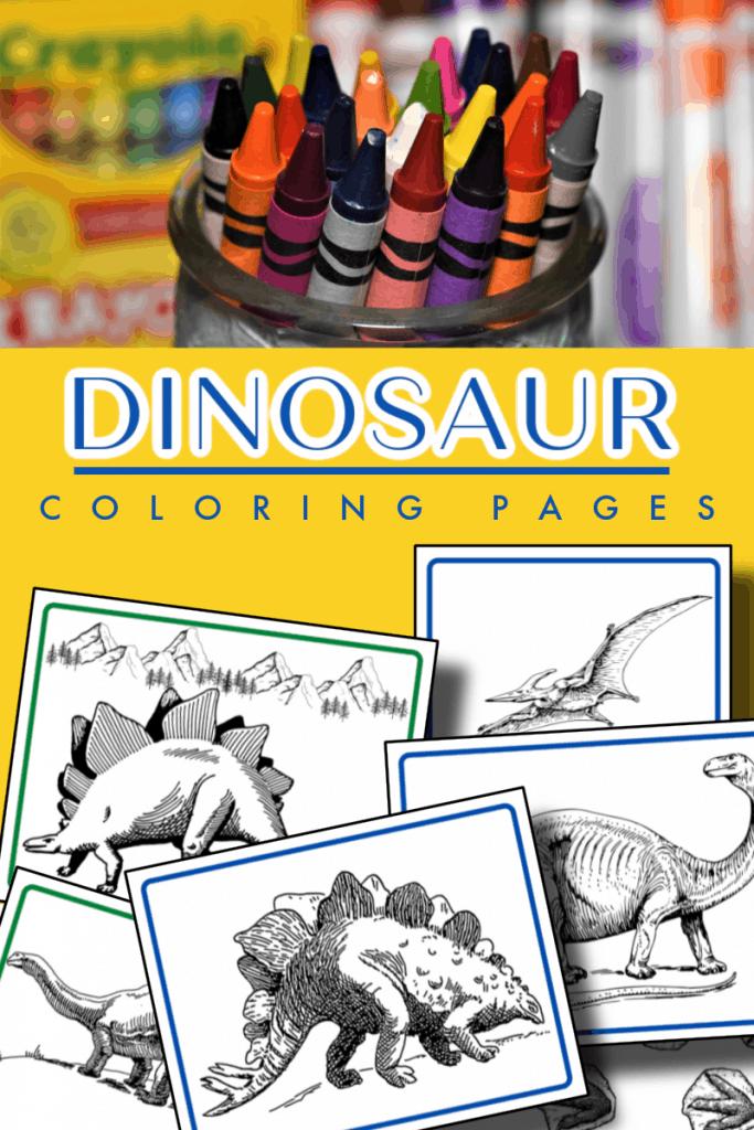 op image - crayons in a jar, bottom image - dinosaur coloring sheets