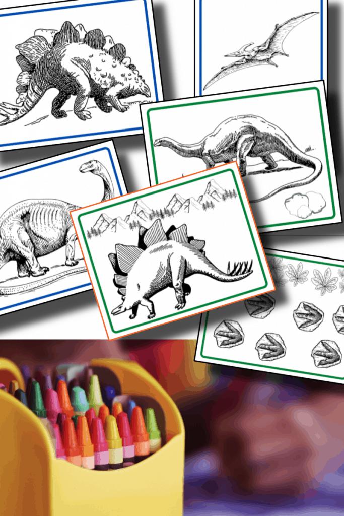 top image - dinosaur coloring sheets, bottom image - box of crayons