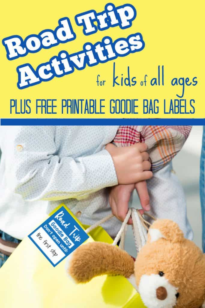 child holding yellow gift bag with teddy bear and blue bag tag