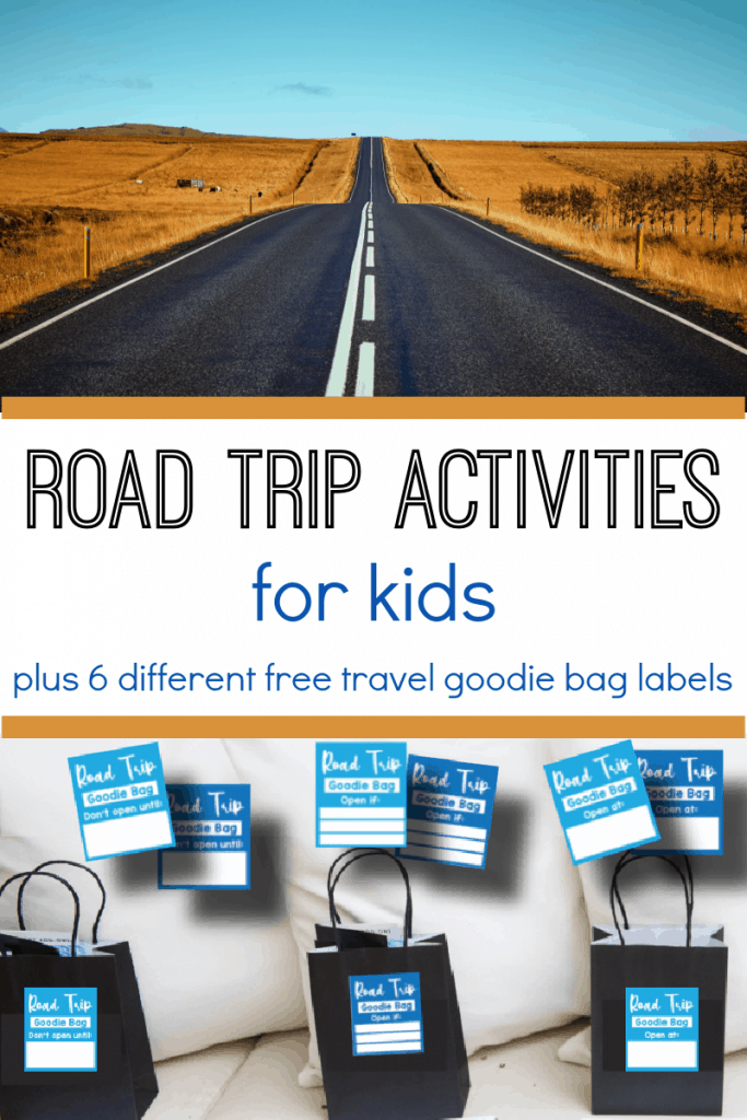 top image - road with no cars extending forward, bottom image - 3 gift bags with blue labels