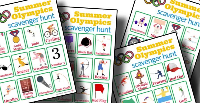 close up of 4 colorful scavenger hunt worksheets