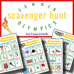 Olympic torch and 4 colorful scavenger hunt worksheets