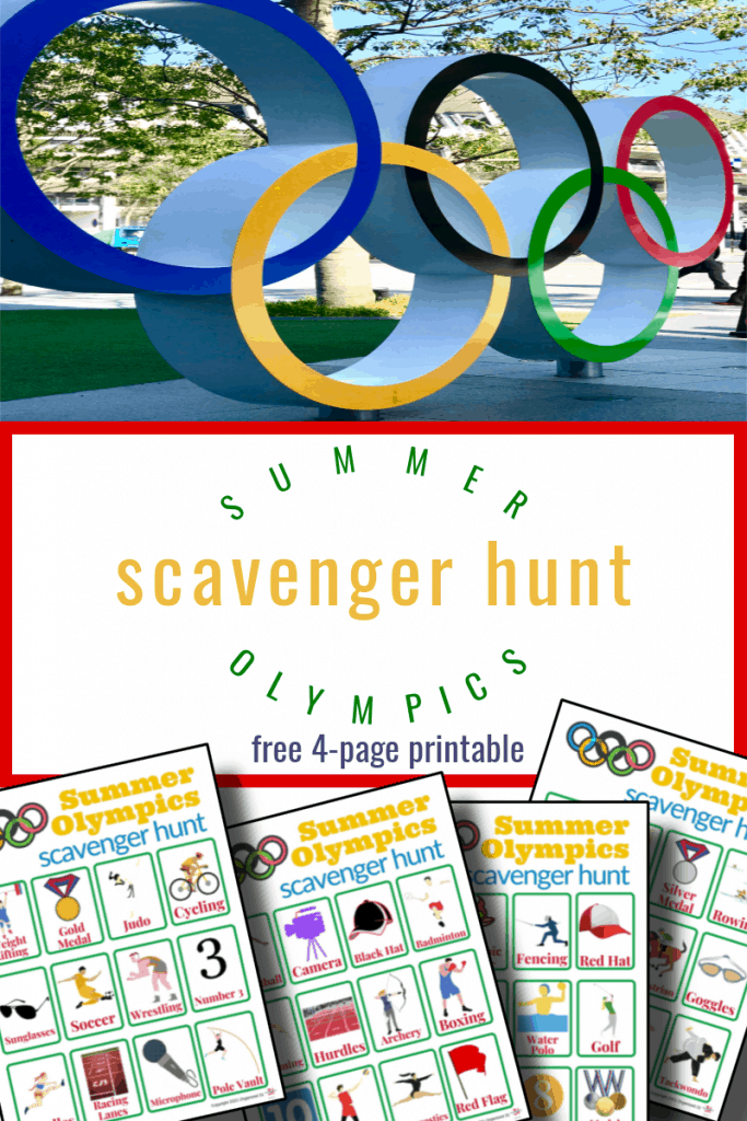 Olympic rings and 4 colorful scavenger hunt worksheets with title text reading Scavenger Hunt Summer Olympics free 4-page printable