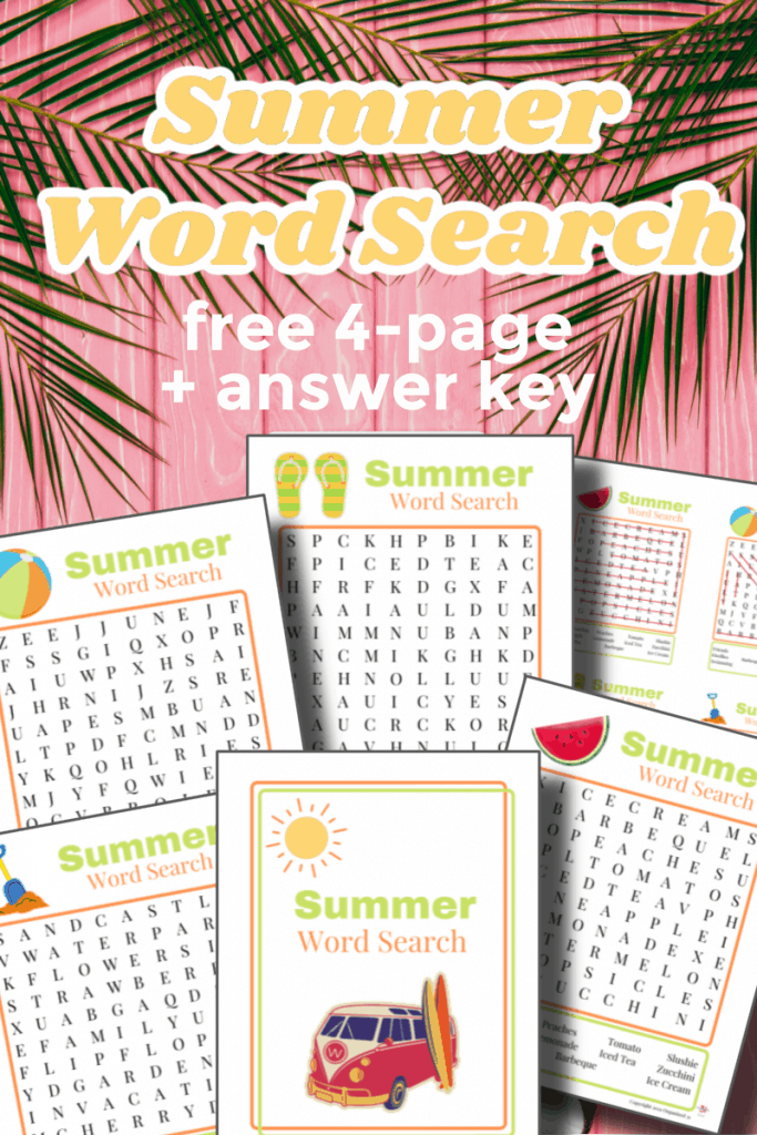 pink background with palm leaves and word search printables with title text reading Summer Word Search free 4-page + answer key