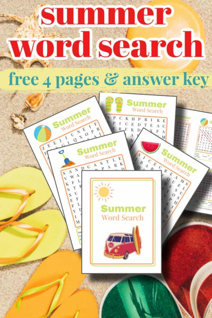 sand, yellow and orange flip flops and word search pages summer word search free 4 pages & answer key
