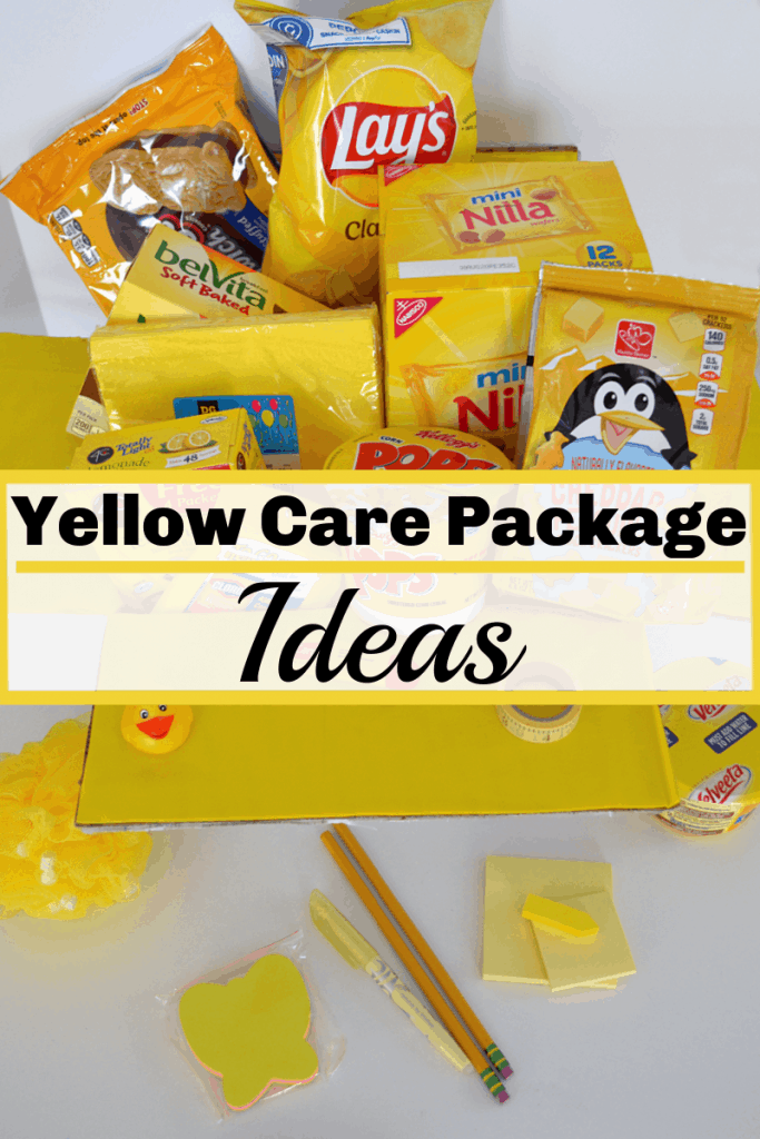 care package of yellow gift items