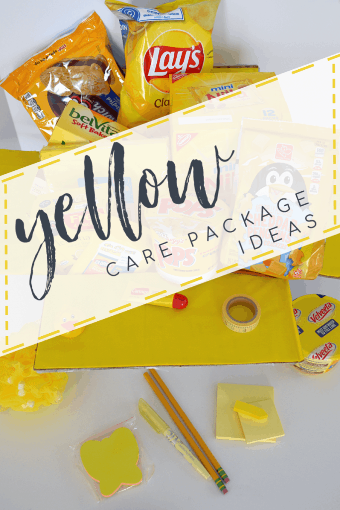 sunshine box filled with yellow gift items with title text overlay reading yellow care package ideas