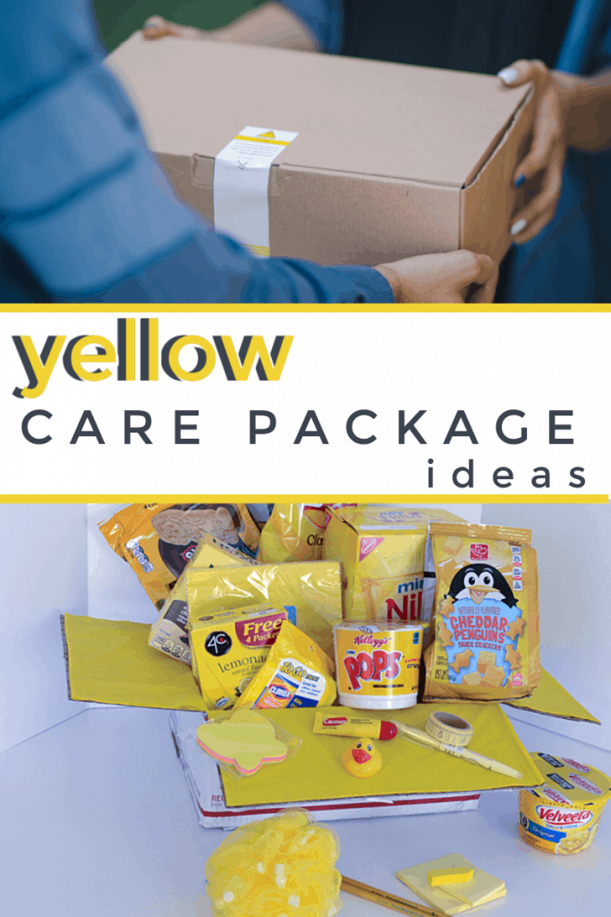 top image - person handing another a box, bottom image - sunshine box contents with title text reading yellow care package ideas
