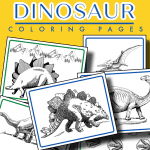 collage of 6 dinosaur coloring sheets