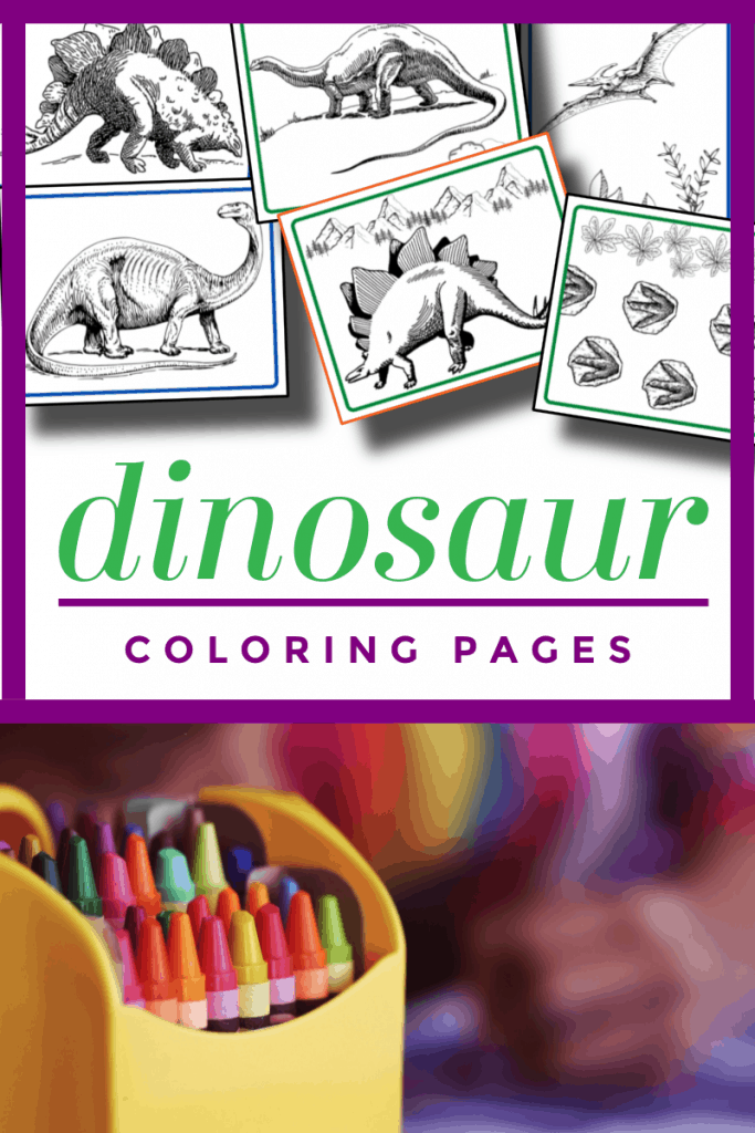 top image - dinosaur coloring sheets, bottom image - box of crayons with title text reading Dinosaur Coloring Pages