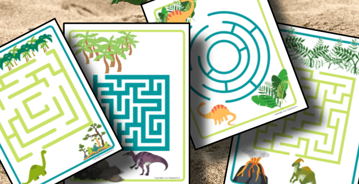 close up of colorful dino maze worksheets