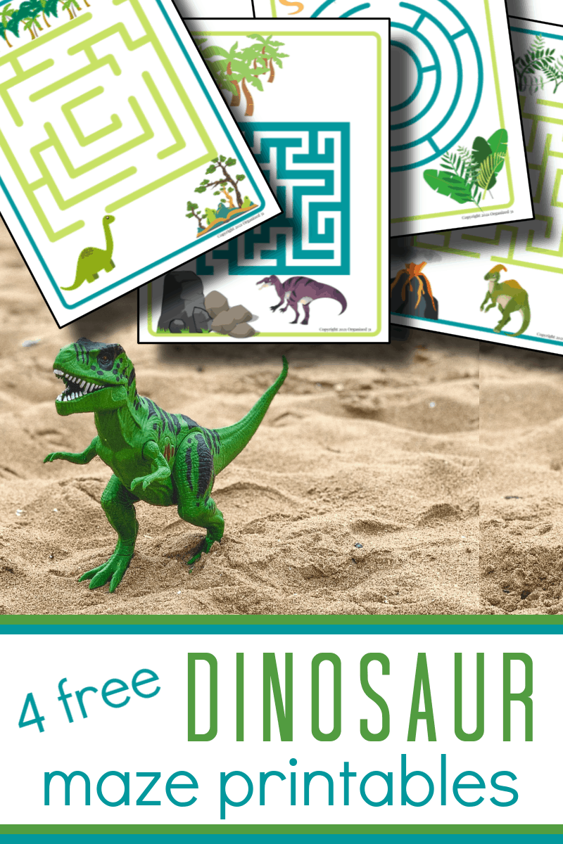 4 colorful maze worksheets next to plastic dinosaur in sand