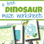 4 blue and green dinosaur maze pages