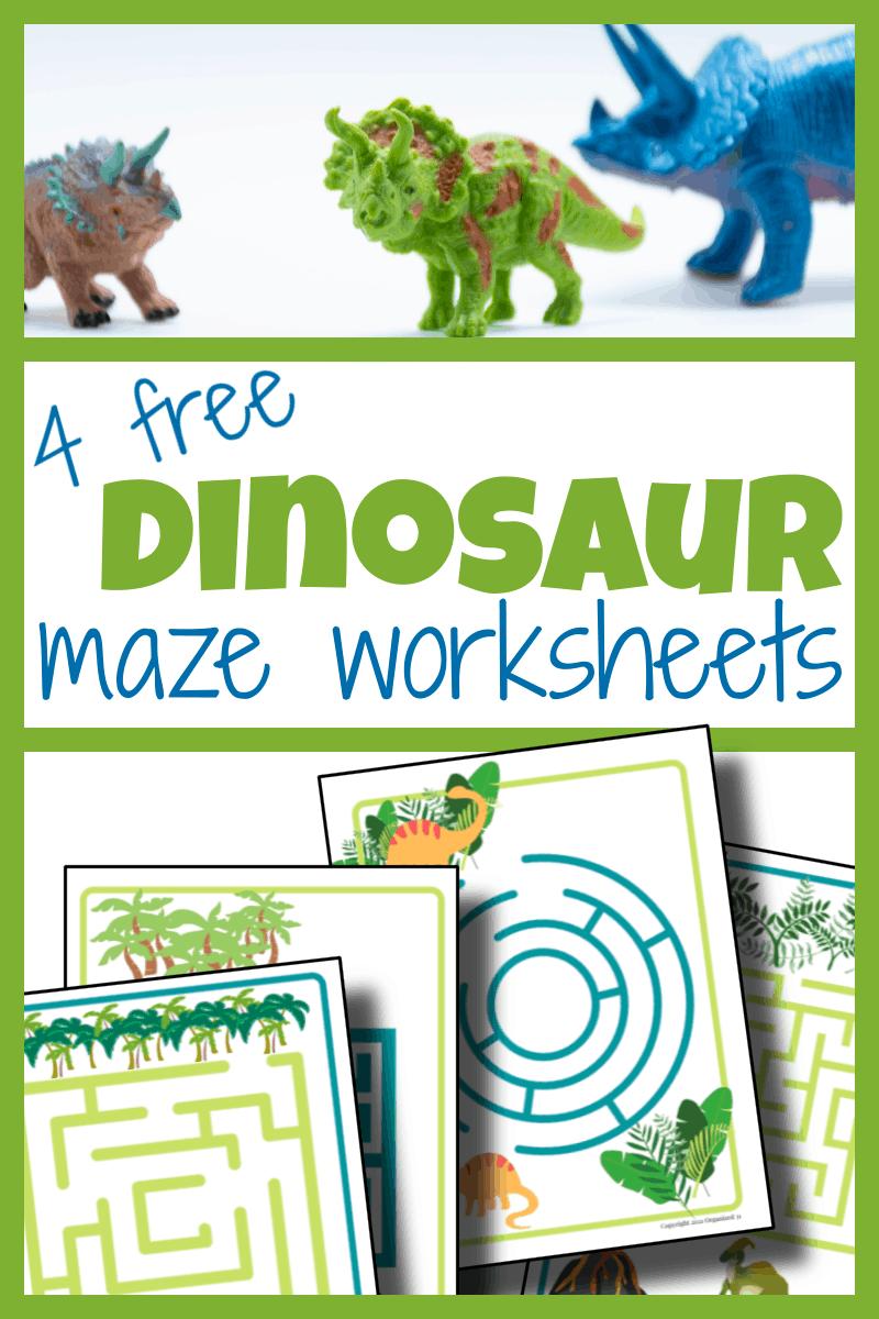 top image - 3 plastic dinosaur toys, bottom image - 4 dino maze worksheets