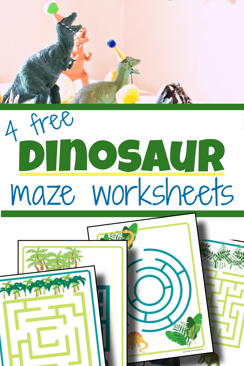 top image - plastic dinosaur toys with party hats, bottom image - 4 dinosaur worksheets