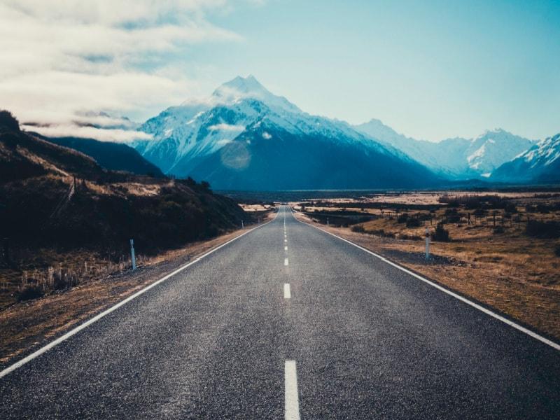 road extending into the distance toward a mountain