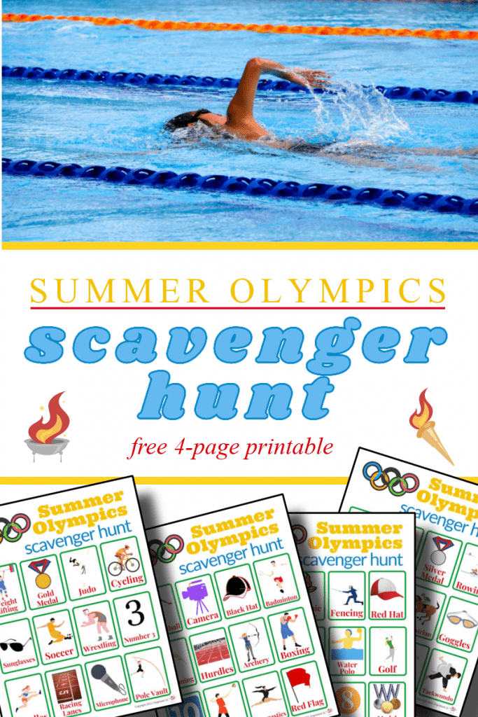 top image - person in swim lane, bottom image - scavenger hunt sheets title text in between reading Summer Olympics scavenger hunt free 4-page printable