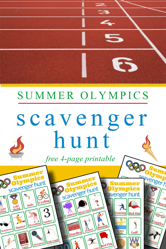 race track lane and colorful scavenger hunt worksheets with title text in between reading Summer Olympics scavenger hunt free 4-page printable