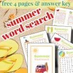 sand, yellow flip flops and word search sheets