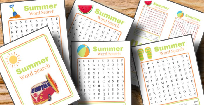 close up of summer word search sheets