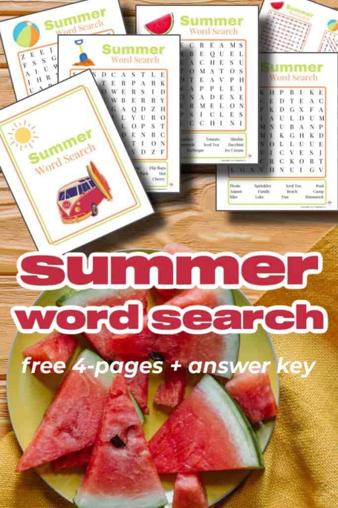 plate of watermelon slices and brightly colored word search pages with title text overlay reading summer word search free 4-pages + answer key