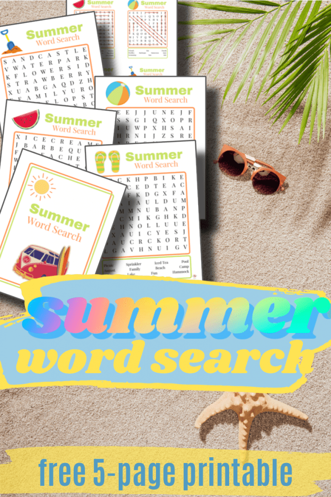 sand, sunglasses and summer word search printables with title text reading Summer Word Search  free 5-page Printable