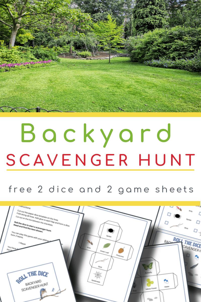 top image- bright green yard, bottom image - 5 backyard scavenger hunt pages
