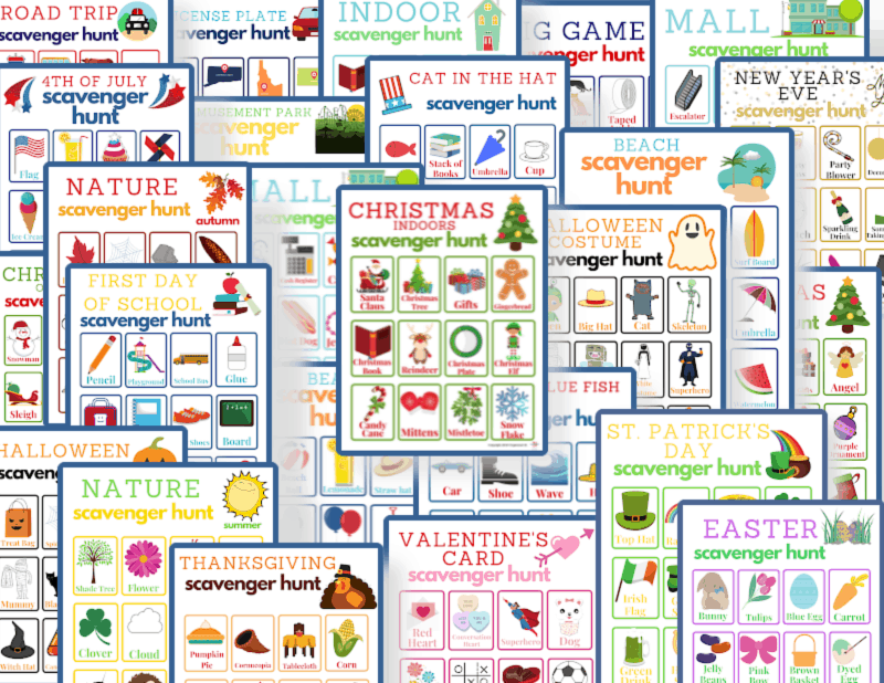 collage of many colorful scavenger hunt game boards