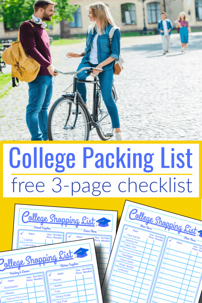 top image - 1 student on bike talking to another, bottom image- 3 college shopping list checklists