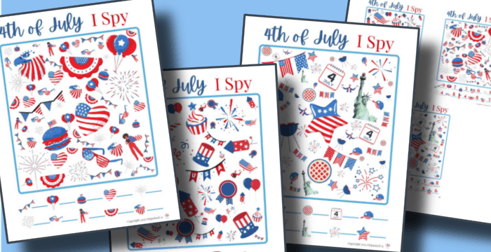 close up of 4th of July I Spy worksheets