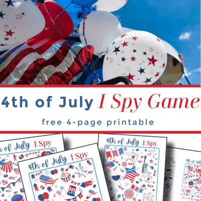 top image - red, white & blue balloons, bottom image - colorful I Spy sheets