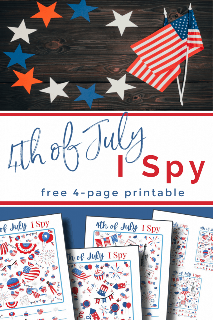 top image - American flag and stars on wood table, bottom image - 4th of July I Spy game with title text reading 4th of July I Spy Game free 4-page printable