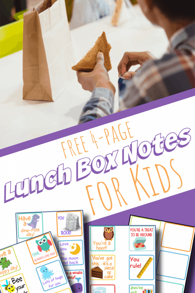 top child holding sandwich in lunchroom, bottom image - 4 lunch box note sheets with title text reading Free 4-Page Lunch Box Notes for Kids