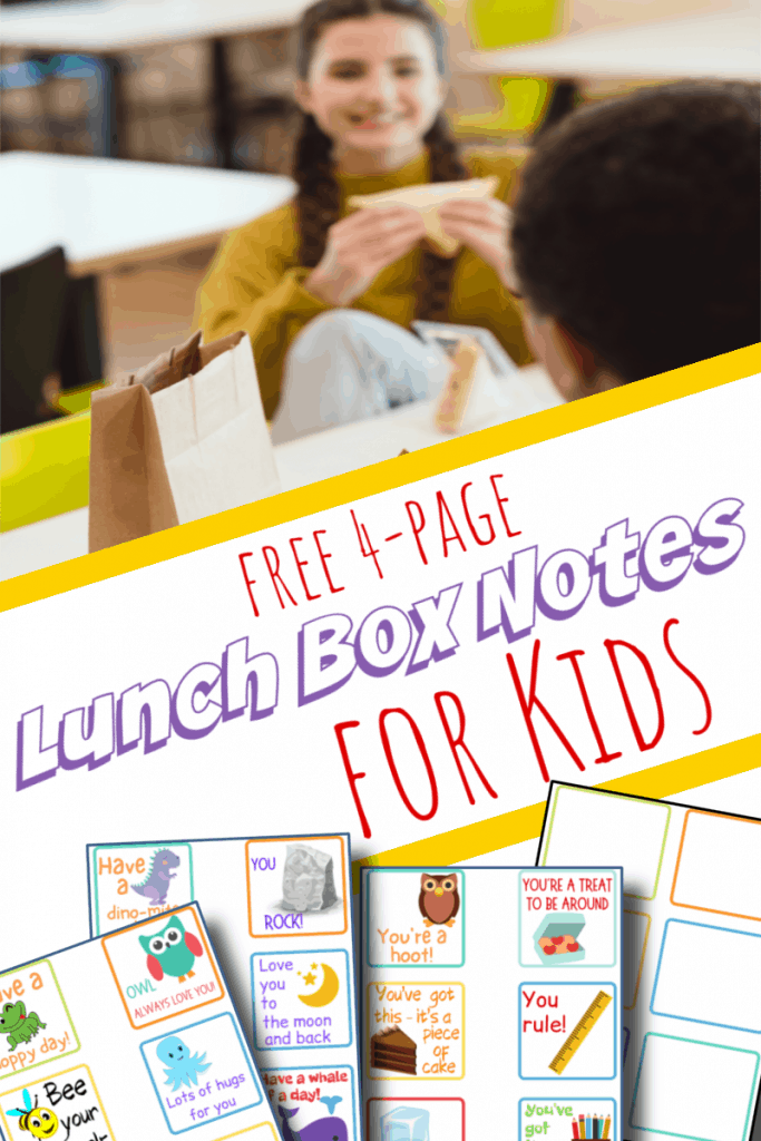 girl eating sandwich in lunchroom, bottom image - 4 lunch box note sheets with title text reading Free 4-Page Lunch Box Notes for Kids