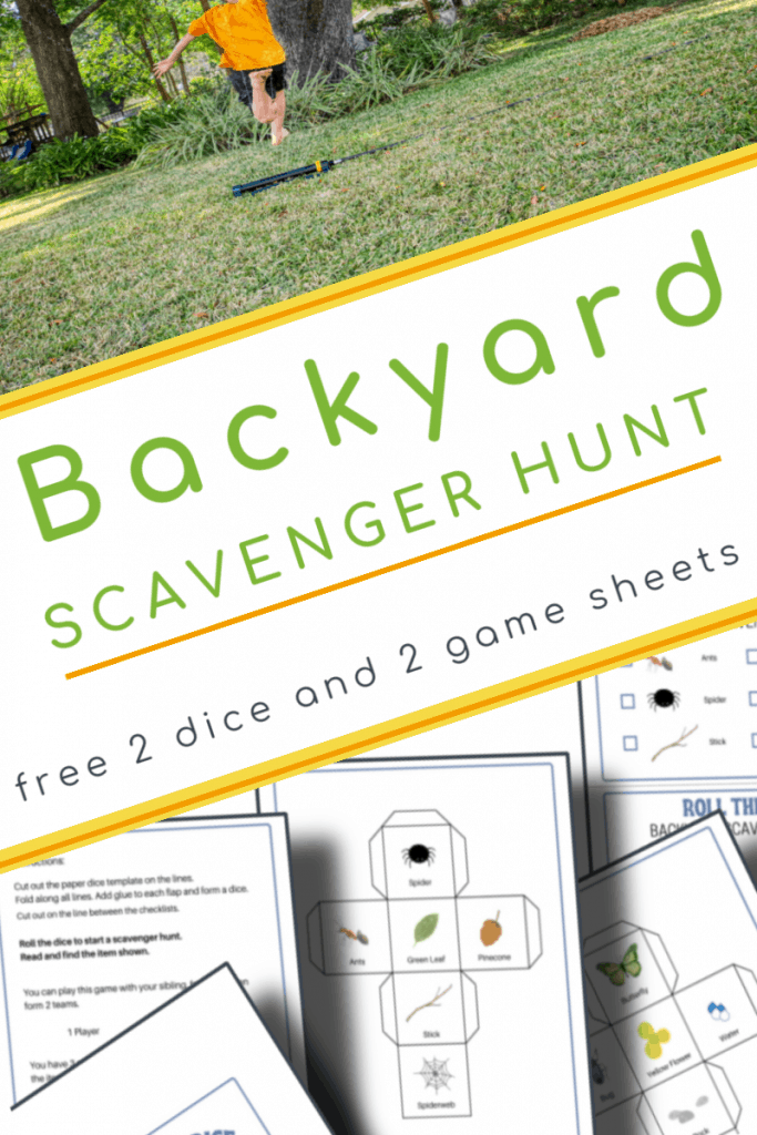 top image- girl running in yard, bottom image - 5 backyard scavenger hunt pages