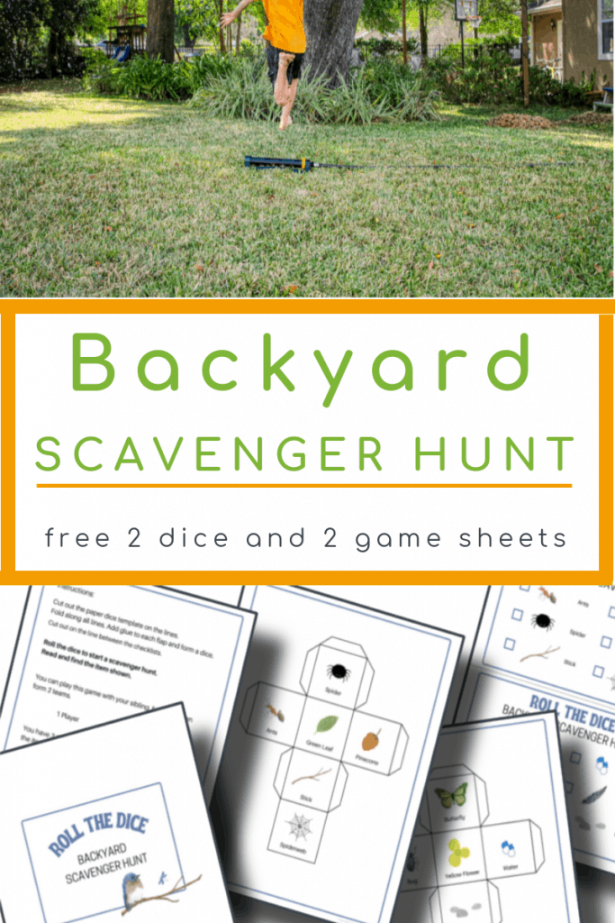 top image- child in orange shirt running in yard, bottom image - 5 backyard scavenger hunt pages with title text reading Backyard Scavenger Hunt free 2 dice and 2 game sheets