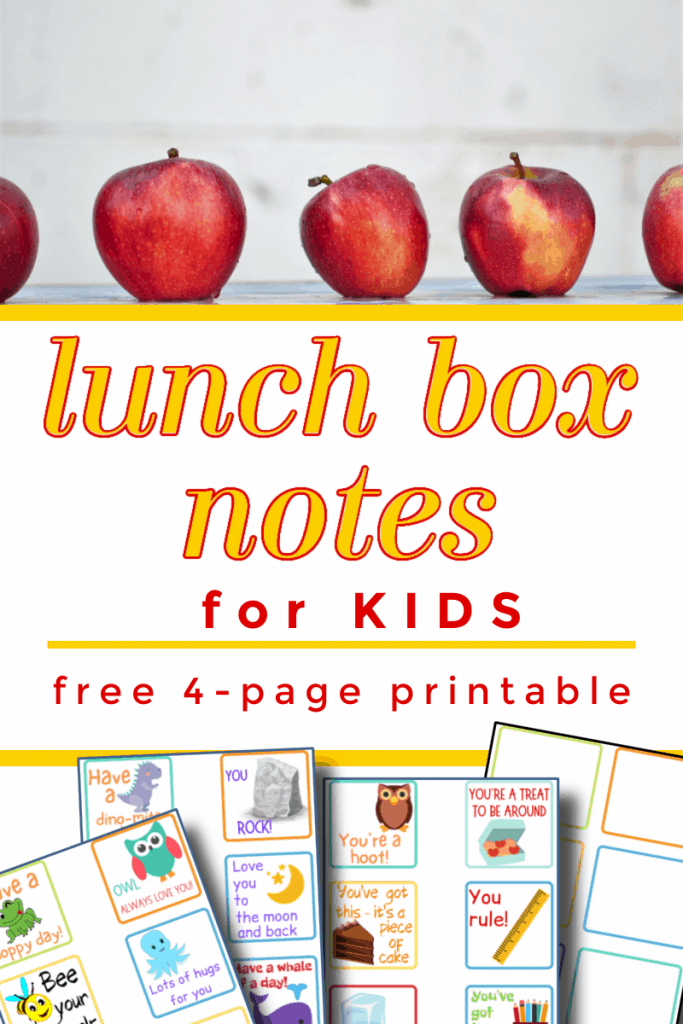 top image - red apples in a row, bottom image - 4 brightly colored sheets of lunch box notes with title text reading Lunch Box Notes for Kids free 4-page printable
